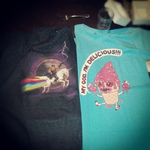 so sarcasmically and I got new clothes. guess which one belongs to who.