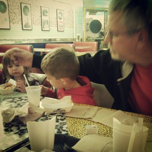 busted Gramps swiping some of the kids food.