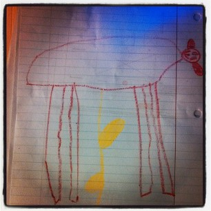 so FaceFace drew a picture of Daisy. Daisy is peeing. ART.