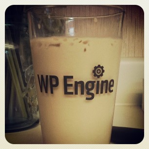 christening my new wpengine pint glass the only way I know how: coffee