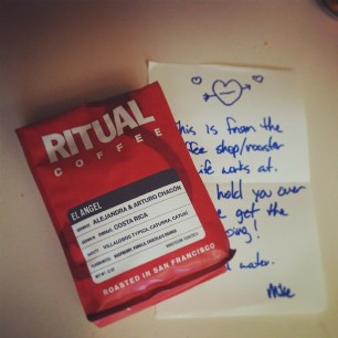 so mikemcalister sends me coffee with a pseudo love note. I'm gonna assume the hearts are for the coffee.