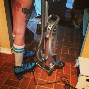 folks, sarcasmically wasn't kidding when she said she was cleaning in roller skates.