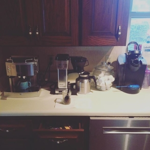 coffee station v3 is operational, thanks to sarcasmically getting me an espresso machine!