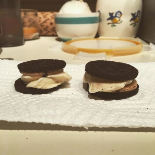 homemade Reese's Cup Oreo ice cream sandwiches because I love America.
