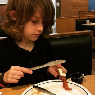 the boy decided to butter his bacon because YOLO or some shit like that.
